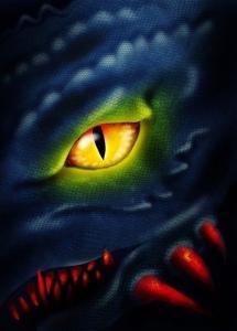 Scary dark dragon eye