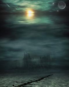 dark green ocean underwater