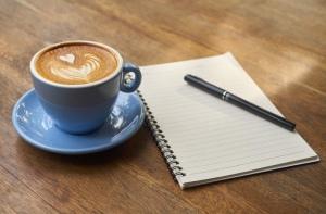 coffee notebook pen write list