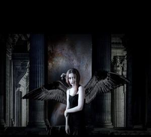 vampire wings black goth girl