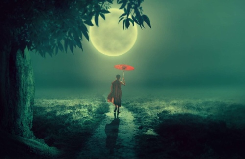 Walking with a red umbrella underneath a full moon