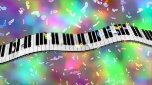 rainbow piano keys music notes