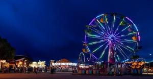 fair ferris wheel night lights carnival