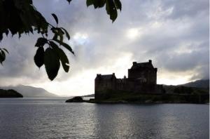 castle clouds sea misty gray