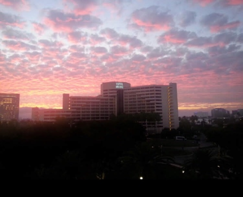 Hotel Irvine and candy pink clouds