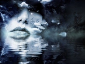woman face reflection ghost water