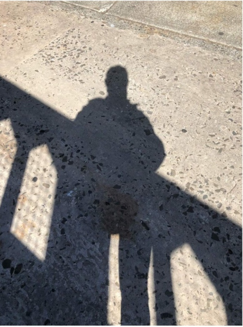 Shadow of a man standing