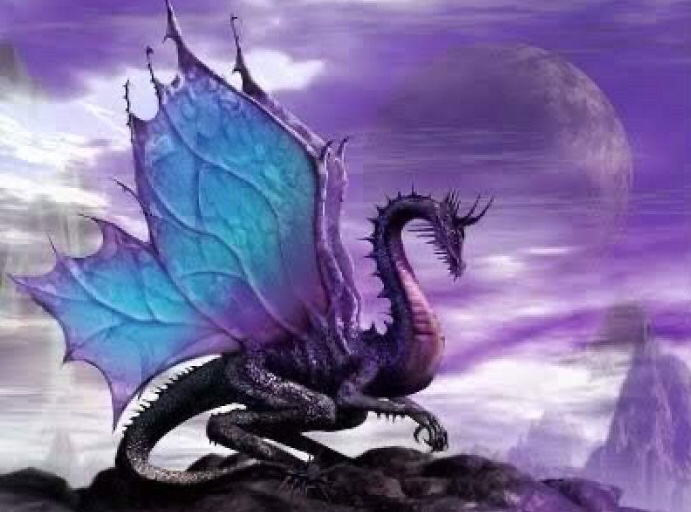 Purple dragon wings mythical fantasy