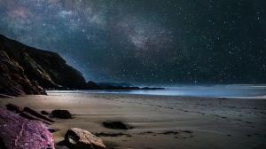 Starry night beach sand
