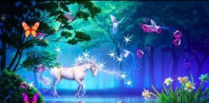 unicorn sparkling butterflies magic