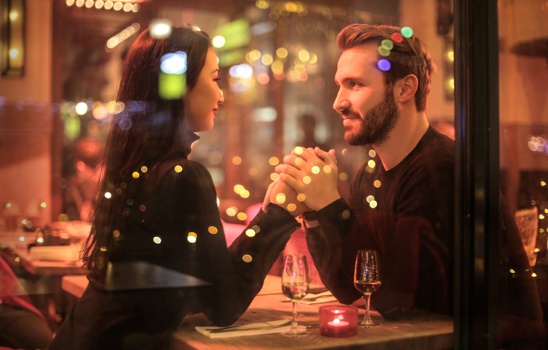 Romantic couple in restaurant