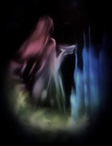 Woman offering ghost spirit