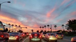 Irvine sunset traffic driving