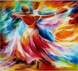 Swirling dancing rainbow flames couple