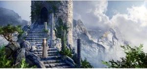 castle steps clouds gray man