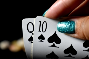 Playing cards poker hand