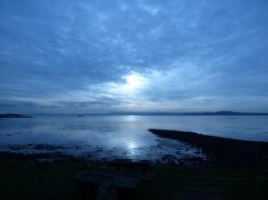 Blue sunrise reflection water