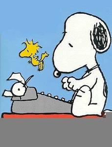 Snoopy writing