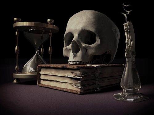 Skeleton horror haunted spooky castle