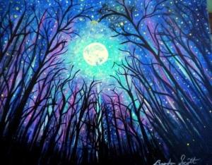 Trees moon stars
