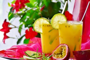 Summer drinks passion fruit lemonade orange