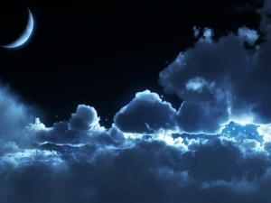 Midnight moon clouds