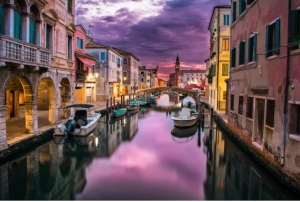 Storm clouds canal boats purple