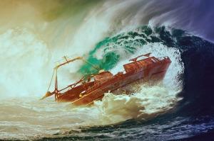 ship storm sea wreck