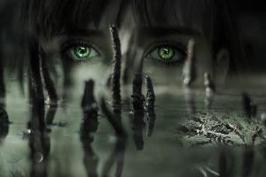 Frog swamp mist green eyes